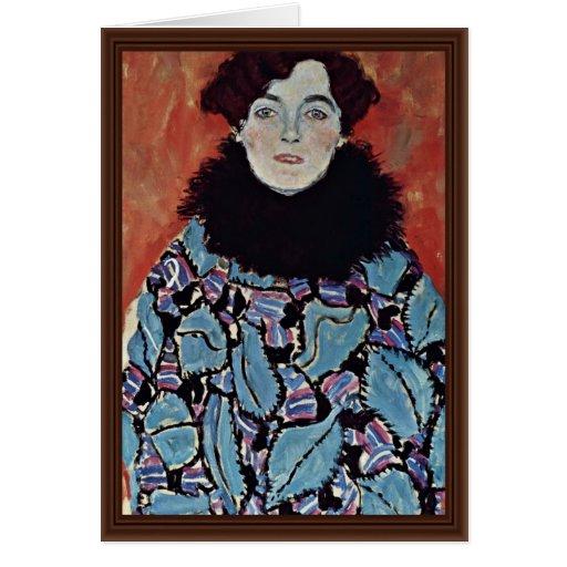 Portrait Of Johanna Staude By Klimt Gustav Greeting Cards