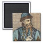 Portrait of Johannes Gutenberg 2 2 Inch Square Magnet