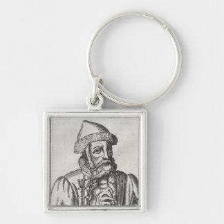 Portrait of Johannes Gutenberg Silver-Colored Square Keychain