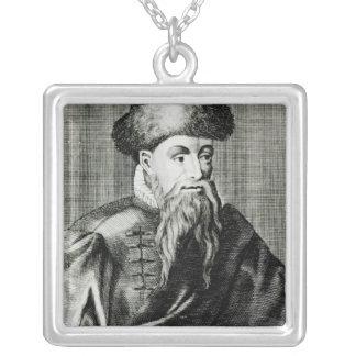 Portrait of Johannes Gutenberg Silver Plated Necklace