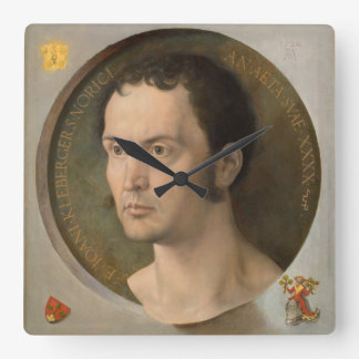 Portrait of Johannes Kleberger by Durer Square Wall Clock