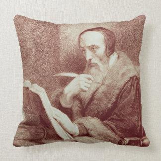 Portrait of John Calvin (1509-1564) (engraving) Pillow