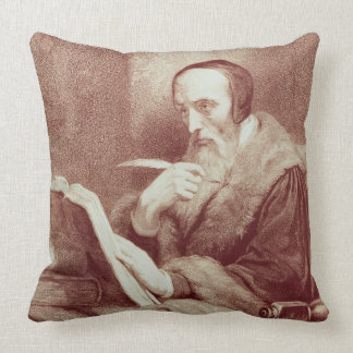 Portrait of John Calvin (1509-1564) (engraving) Throw Pillow