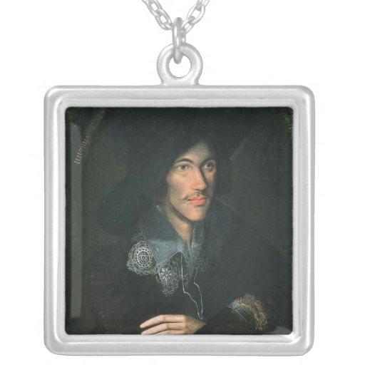 Portrait of John Donne, c.1595 Square Pendant Necklace