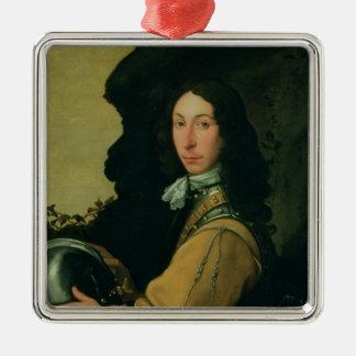 Portrait of John Evelyn Square Metal Christmas Ornament