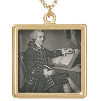 Portrait of John Hancock, engraved by John B. Forr Square Pendant Necklace