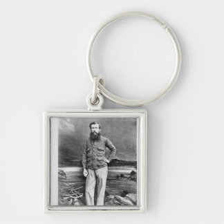 Portrait of John Hanning Speke Silver-Colored Square Keychain
