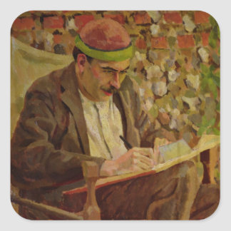 Portrait of John Maynard Keynes (1883-1946) (oil o Square Sticker