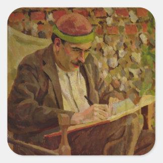 Portrait of John Maynard Keynes (1883-1946) (oil o Square Stickers