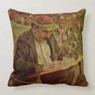 Portrait of John Maynard Keynes (1883-1946) (oil o Throw Pillow