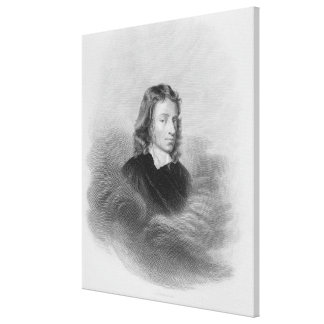 Portrait of John Milton (1608-74) engraved by the Canvas Print