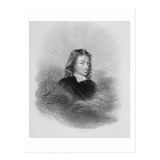 Portrait of John Milton (1608-74) engraved by the Postcard