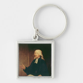 Portrait of John Wesley  1788 Silver-Colored Square Keychain