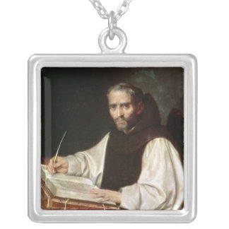 Portrait of Jose de Siguenza, prior and librarian Silver Plated Necklace
