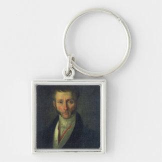 Portrait of Joseph Fouche  Duke of Otranto, 1813 Silver-Colored Square Keychain