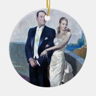 Portrait of Juan Domingo Perón and Eva Duarte Ceramic Ornament
