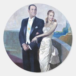 Portrait of Juan Domingo Perón and Eva Duarte Classic Round Sticker