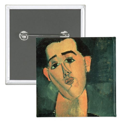 Portrait of Juan Gris (1887-1927) 1915 (oil on can 2 Inch Square Button
