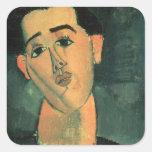 Portrait of Juan Gris (1887-1927) 1915 (oil on can Square Sticker