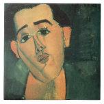 Portrait of Juan Gris (1887-1927) 1915 (oil on can Large Square Tile