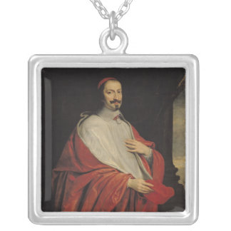 Portrait of Jules Mazarin Silver Plated Necklace