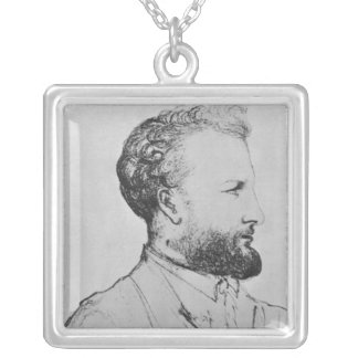 Portrait of Jules Verne  d Silver Plated Necklace