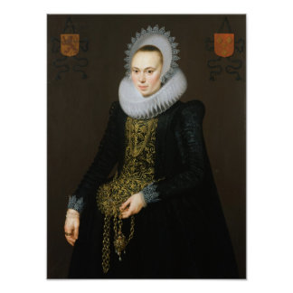 Portrait of Justina van Teylingen, 1616 Poster