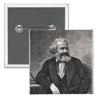 Portrait of Karl Marx  1857 Pinback Button