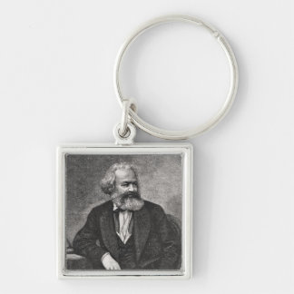 Portrait of Karl Marx  1857 Silver-Colored Square Keychain