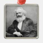 Portrait of Karl Marx Square Metal Christmas Ornament