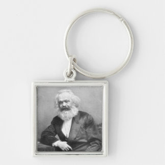 Portrait of Karl Marx Silver-Colored Square Keychain