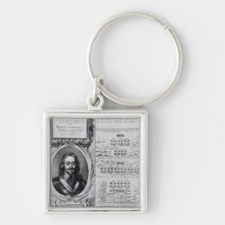 Portrait of King Charles I with diagrams Silver-Colored Square Keychain