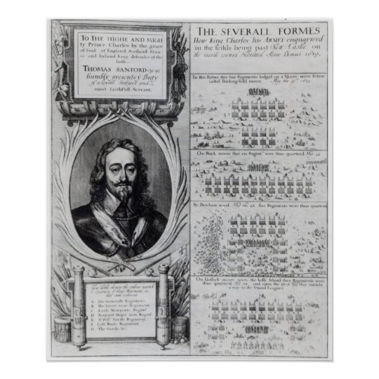Portrait of King Charles I with diagrams Poster