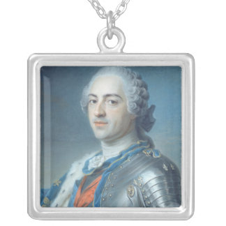 Portrait of King Louis XV  1748 Silver Plated Necklace