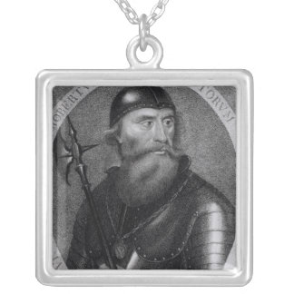Portrait of King Robert I of Scotland Square Pendant Necklace