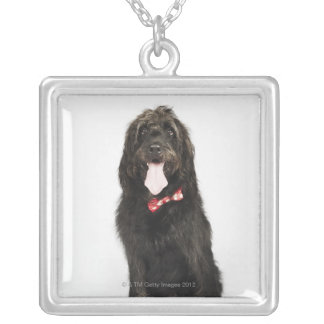 Portrait of Labradoodle dog Silver Plated Necklace