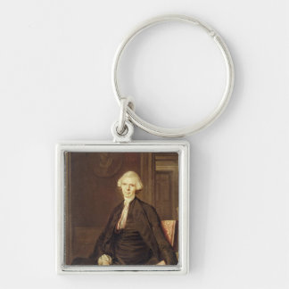 Portrait of Laurence Sterne Silver-Colored Square Keychain