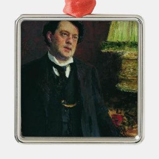 Portrait of lawyer Oskar Grusenberg by Ilya Repin Square Metal Christmas Ornament