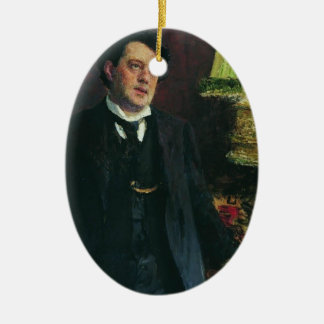 Portrait of lawyer Oskar Grusenberg by Ilya Repin Double-Sided Oval Ceramic Christmas Ornament