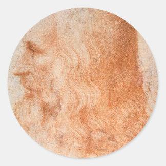 Portrait of Leonardo da Vinci Classic Round Sticker