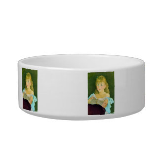 Portrait of Lina Campineanu by Edouard Manet Cat Food Bowl
