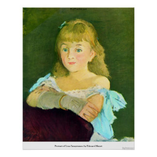 Portrait of Lina Campineanu by Edouard Manet Poster