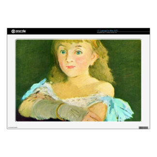 """Portrait of Lina Campineanu by Edouard Manet 17"""" Laptop Decal"""