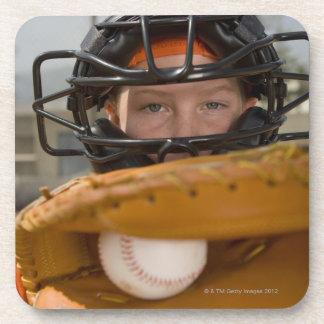 Portrait of little league catcher drink coaster