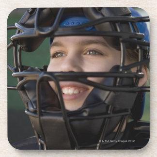 Portrait of little league catcher in mask beverage coaster