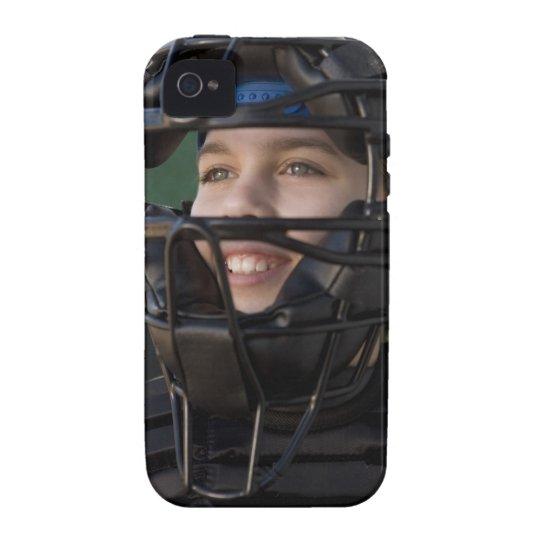Portrait of little league catcher in mask Case-Mate iPhone 4 case