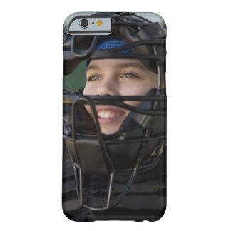 Portrait of little league catcher in mask iPhone 6 case