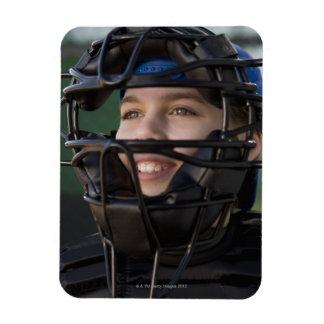 Portrait of little league catcher in mask magnet