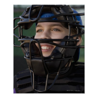 Portrait of little league catcher in mask poster
