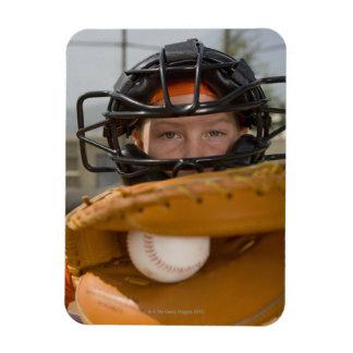 Portrait of little league catcher magnet
